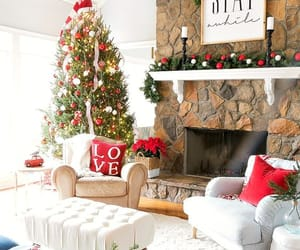 christmas, fireplace, and tree image
