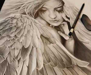 angel, black and white, and fantasy image