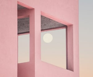 aesthetic, pink, and moon image