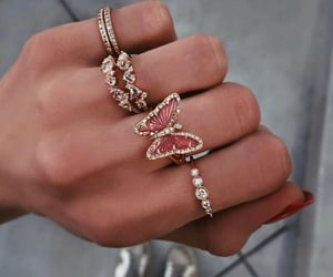 rings, fashion, and butterfly image