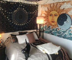 home, cat, and bedroom image