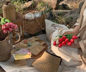 beige, flowers, and food image