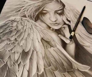 angel, drawing, and wings image