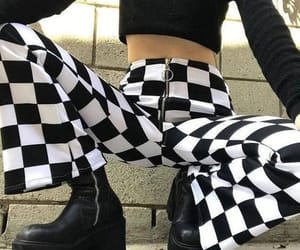 fashion, black, and checkered image