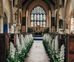 aisle, church, and flowers image
