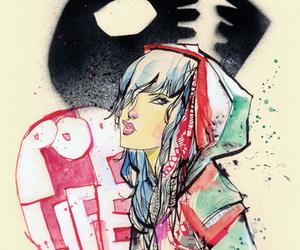 artist, girl, and skull image