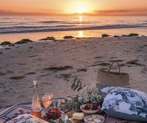 beach, picnic, and sunset image