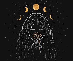 moon, flowers, and girl image