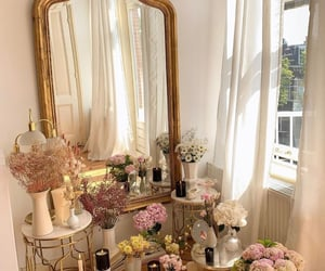 flowers, mirror, and pink image
