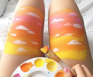 art, paint, and clouds image