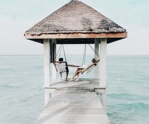 summer, couple, and ocean image