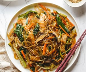 cooking, japchae, and delicious image