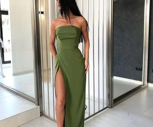 dress, green, and long image