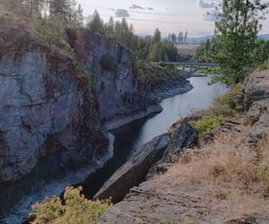 bridge, rocks, and scenery image