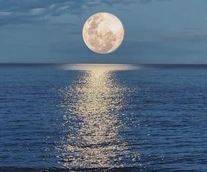 moon, ocean, and sea image