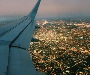 london, night, and plane image