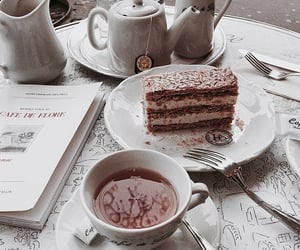 cake, coffe, and drink image