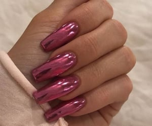nails, pink, and chrome image