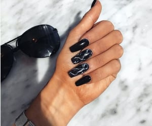 nails, black, and sunglasses image