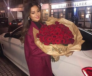 beauty, woman, and flowers roses image