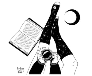 books, coffee, and illustration image