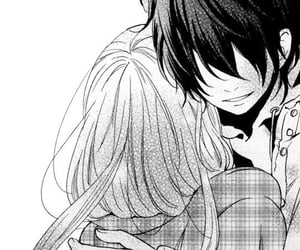 black&white, manga shojo, and hug image