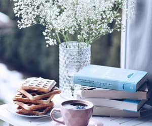 book, desserts, and breakfast image