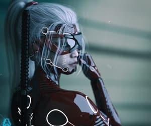 cyborg, female, and futuristic image