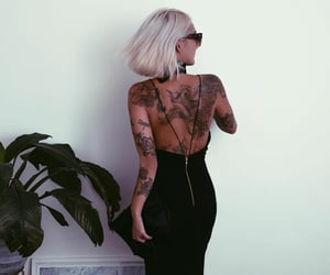 blond, Tattoos, and fashion image