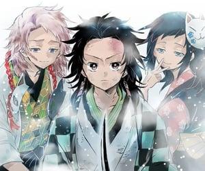anime girl, kamado tanjirou, and cry image