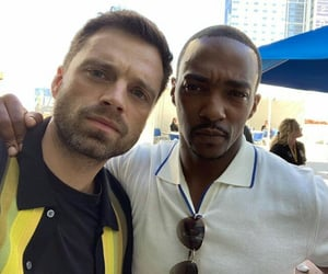 sebastian stan, anthony mackie, and falcon image