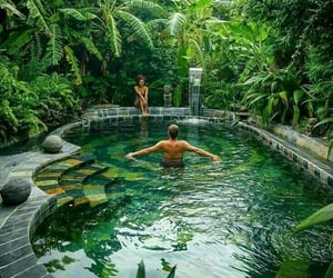 pool, green, and couple image