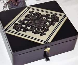 black and gold, box, and wood carving image