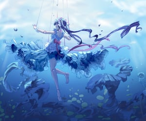 anime, underwater, and art image