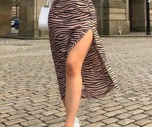 bag, midi skirt, and long sleeve image