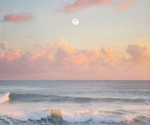 beach, clouds, and moon image