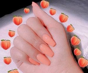 nails, peach, and nail art image