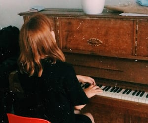 girl, music, and pianist image