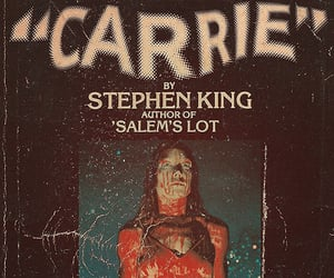 carrie, Stephen King, and book image