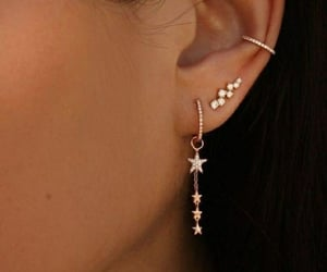 earrings, stars, and woman image