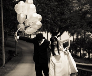 baloons, black and white, and couple image