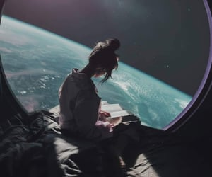 space and girl image