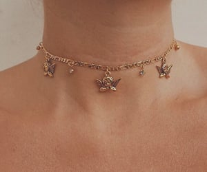 necklace, angel, and gold image