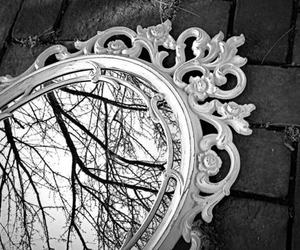 mirror, reflection, and vintage image