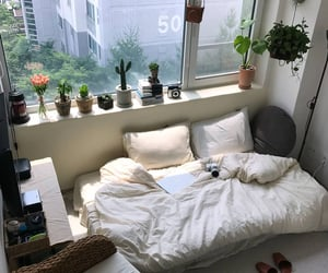 bed, flowers, and home decor image