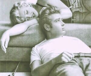 Marilyn Monroe, james dean, and Drake image