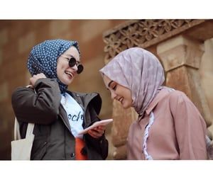 girls, hijab, and friends image