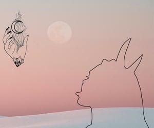 Devil, girl, and luna image