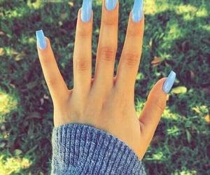 nails, blue, and acrylic image
