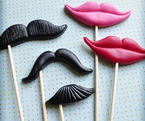 lips, mustache, and sticks image